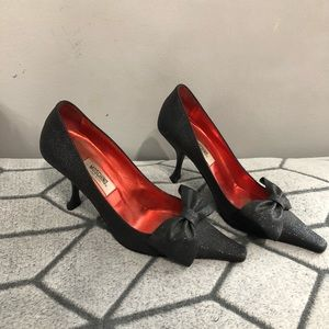 Moschino Black Bow Pumps Heels Sparkle Glitter
